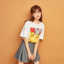 [Sales] 여성 여름 테니스 플리츠 A라인 미니 스커트 프린트 티셔츠 세트